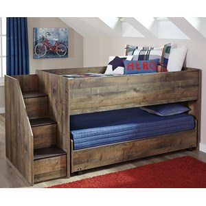 Signature Design by Ashley Trinell Loft Bed with Storage Stairs & Caster Bed