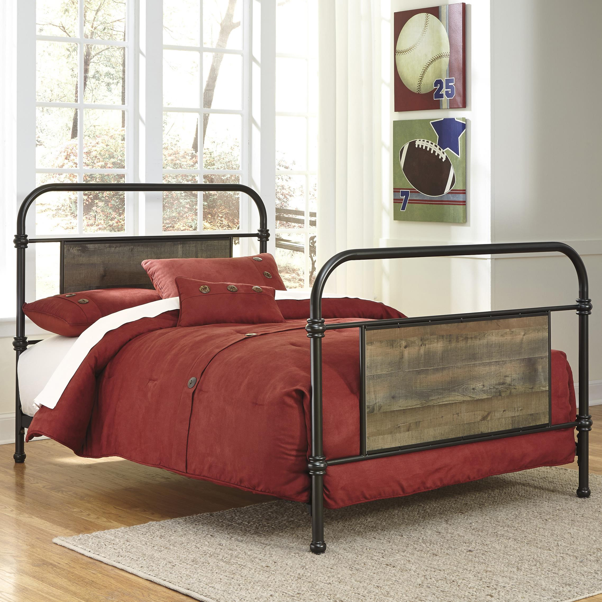 Signature Design by Ashley Trinell Full Metal Bed with Rustic Finish Panels - Item Number: B446-72