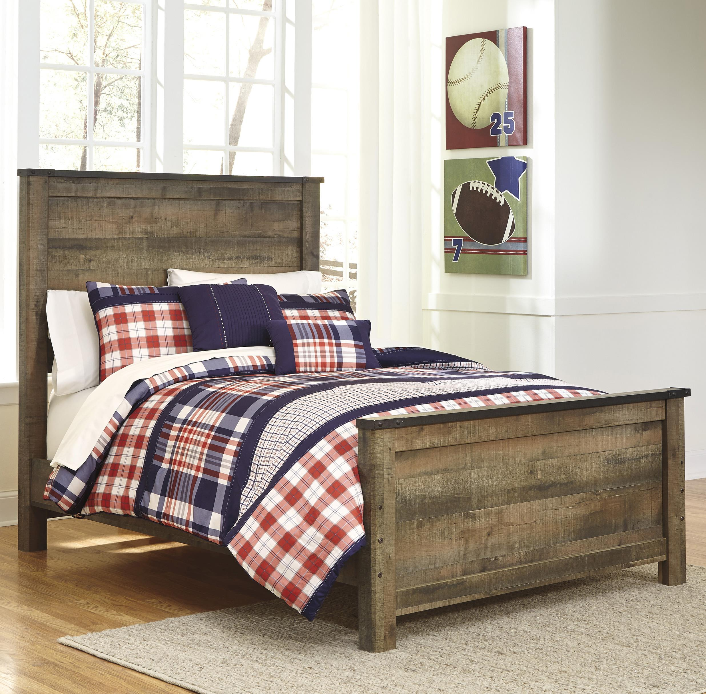 Signature design by ashley trinell rustic look full panel - Ashley furniture full bedroom sets ...