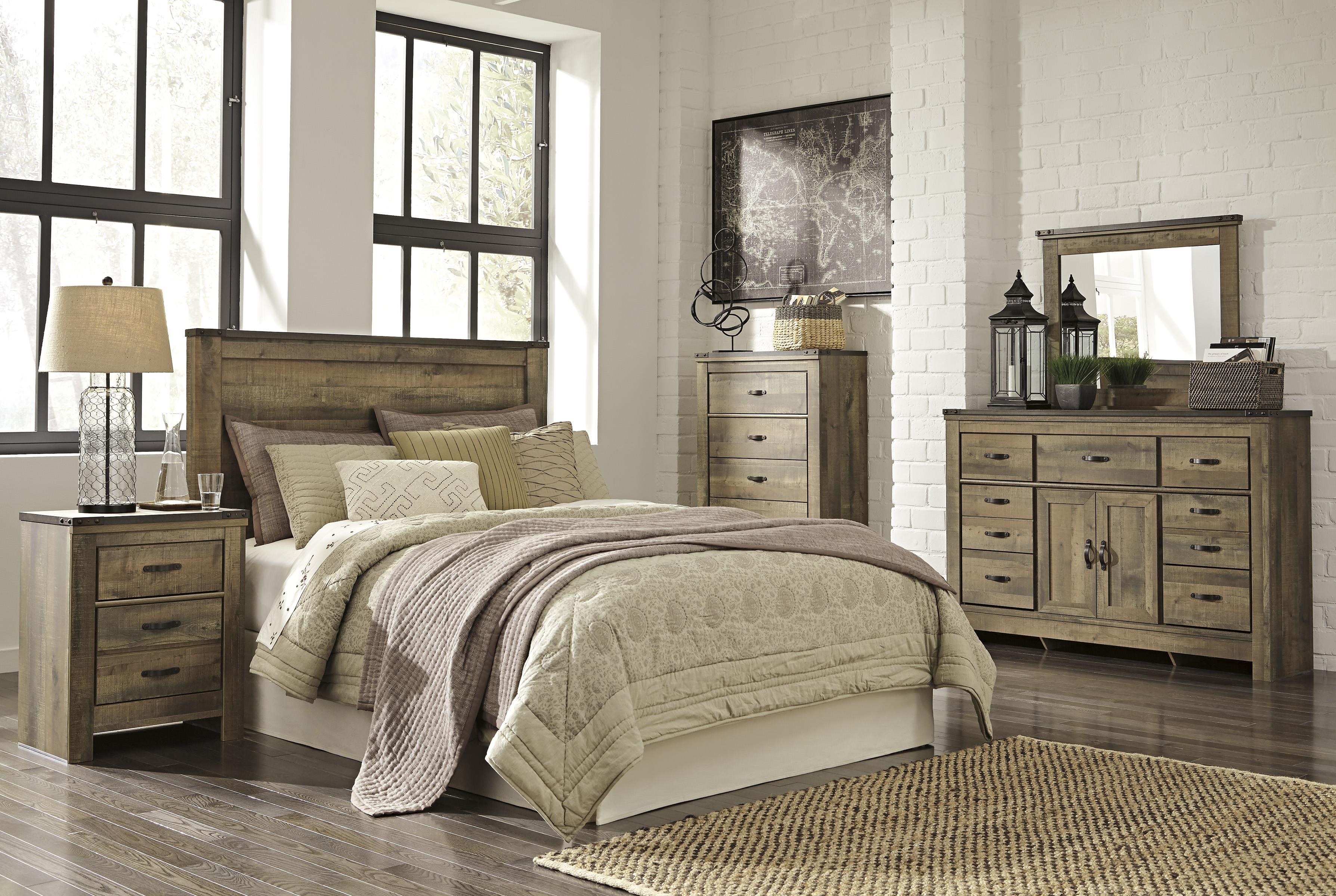 Signature Design By Ashley Trinell Rustic Two Drawer Night