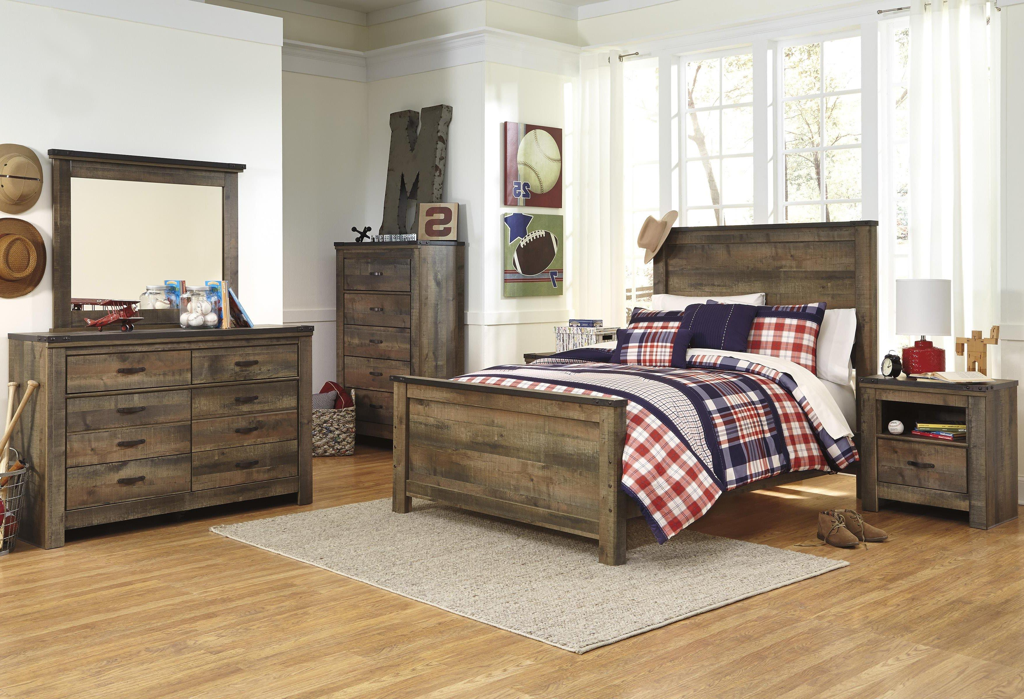 Signature Design by Ashley Trinell Full Bed, Dresser, Mirror and Nightstand - Item Number: FULL B+D+M+NS