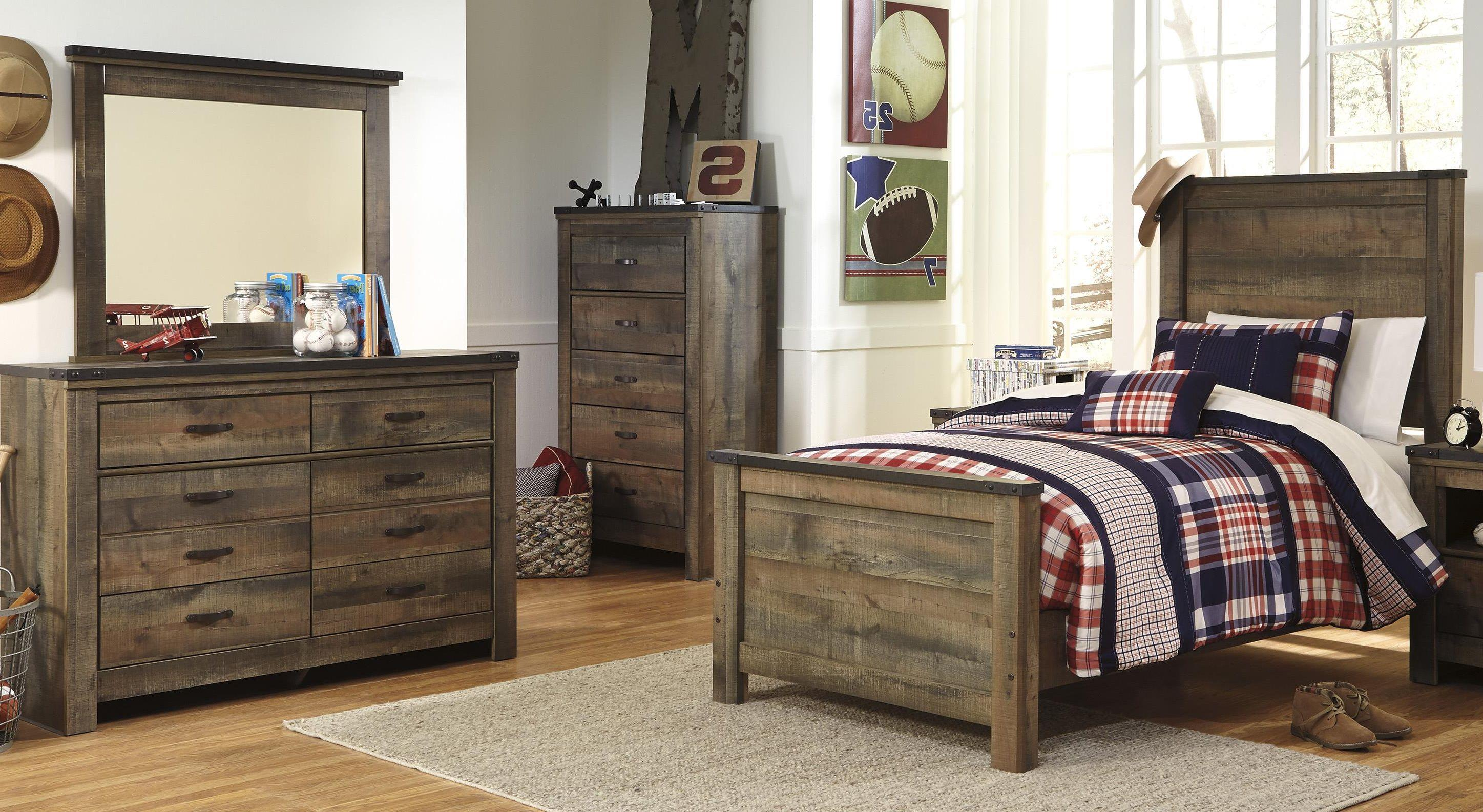 Twin Bed, Dresser and Mirror