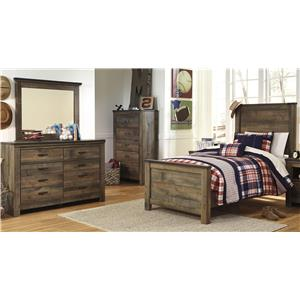 Signature Design by Ashley Trinell Twin Bed, Dresser and Mirror