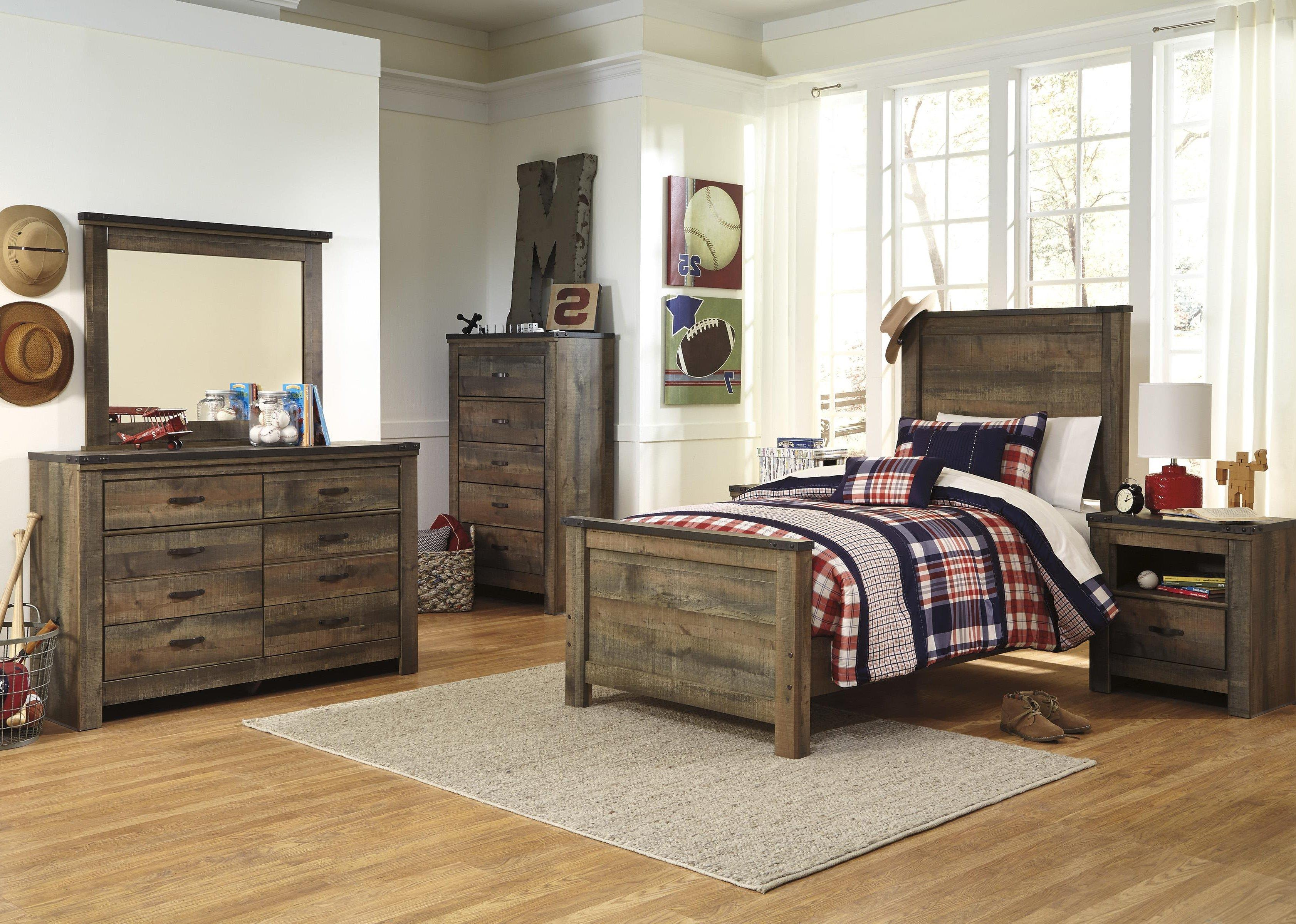 Twin Bed, Dresser, Mirror and Nightstand