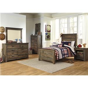 Signature Design by Ashley Trinell Twin Bed, Dresser, Mirror and Nightstand