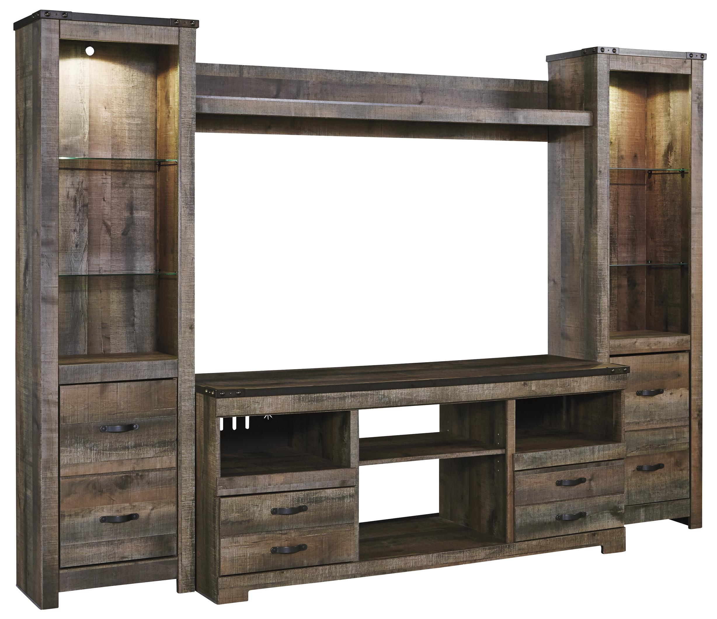 Ashley Signature Design Trinell Rustic Large Tv Stand