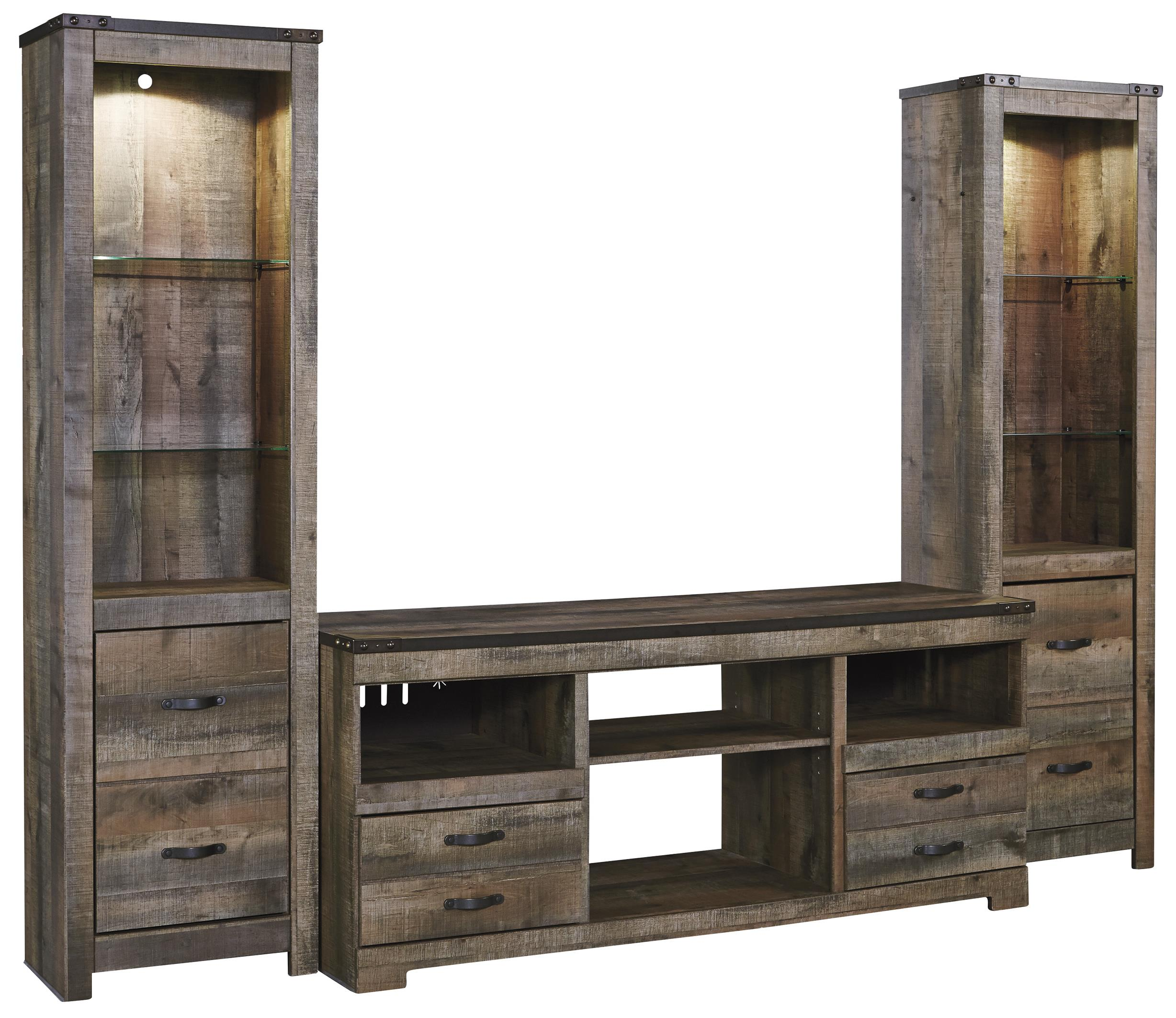 Signature Design by Ashley Trinell Large TV Stand & 2 Tall Piers - Item Number: W446-68+2x24