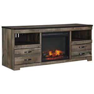 Ashley Signature Design Trinell Large TV Stand with Fireplace Insert