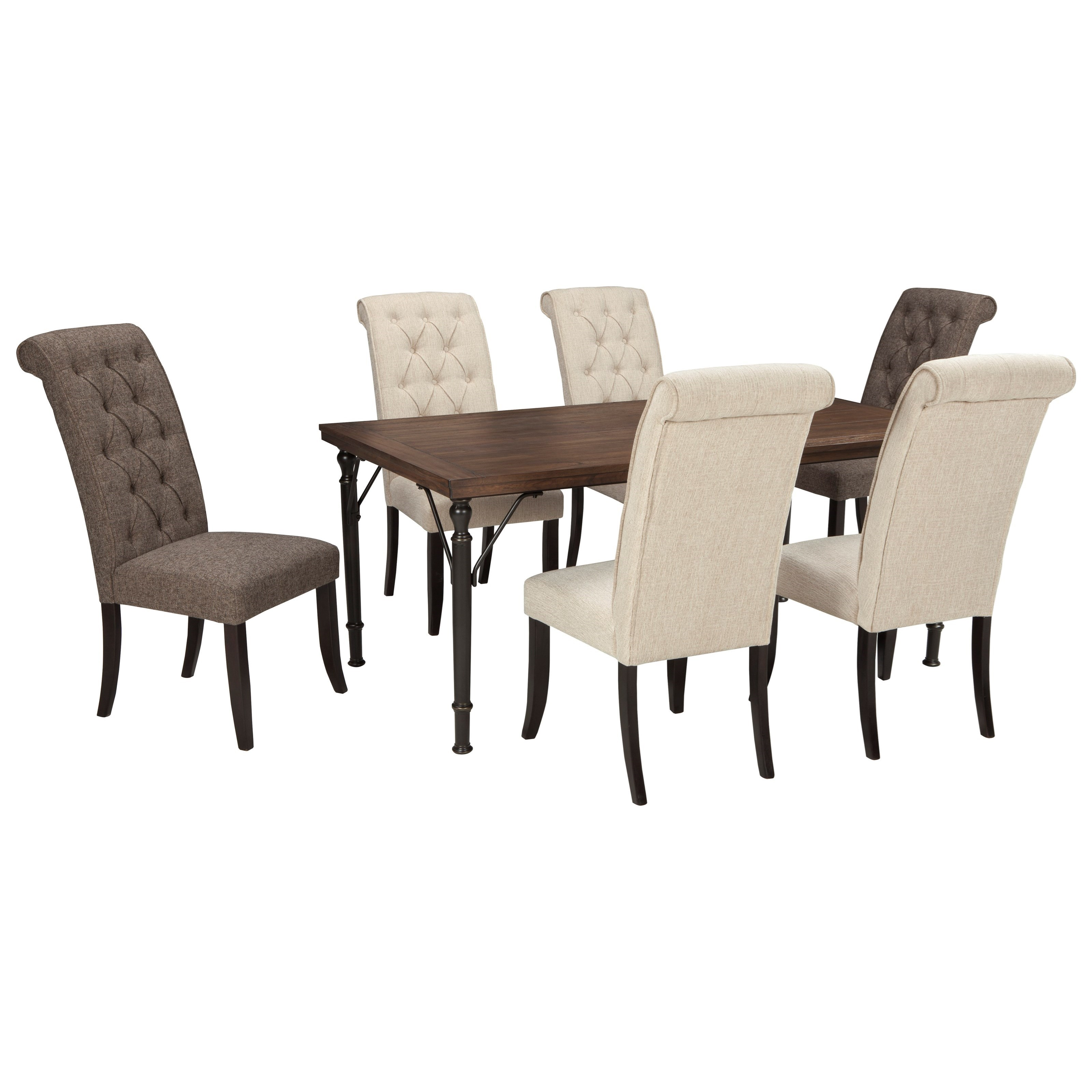 Signature Design by Ashley Tripton 7-Piece Rectangular Dining Room Table Set - Item Number: D530-25+2x02+4x01