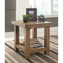 Signature Design by Ashley Trishley Solid Pine Rectangular End Table with Slat Shelf