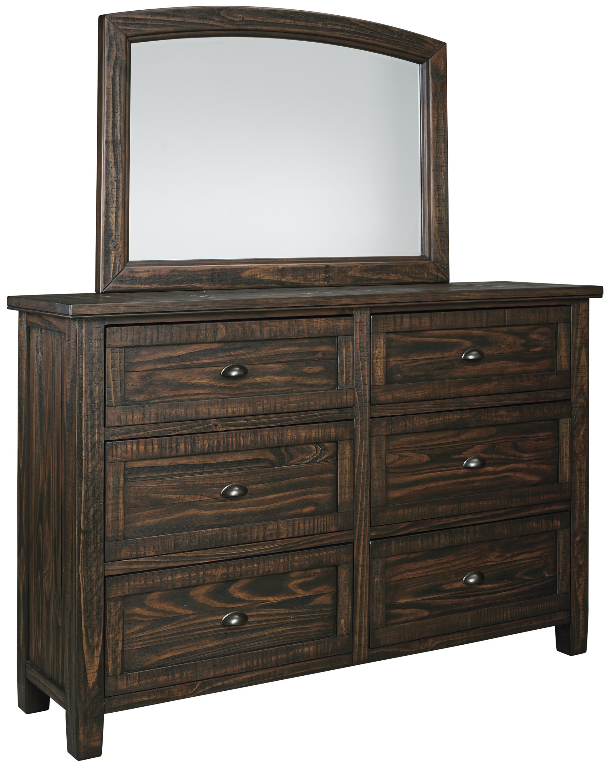 Signature Design by Ashley Trudell 6 Drawer Dresser and Mirror - Item Number: B658-31+36