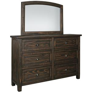 Signature Design by Ashley Trudell 6 Drawer Dresser and Mirror