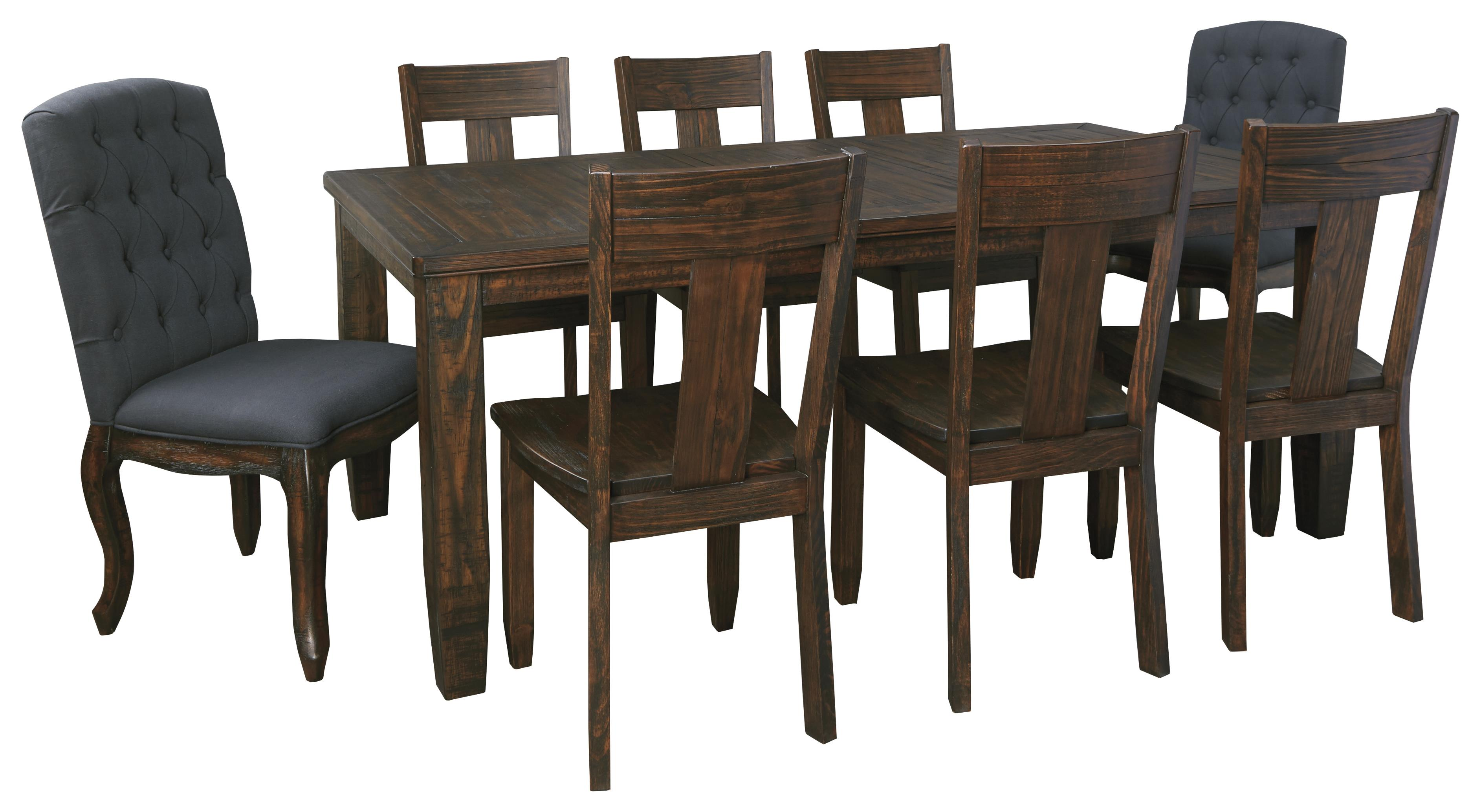 Signature Design by Ashley Trudell 9-Piece Rectangular Dining Table Set - Item Number: D658-35+2x02+6x01