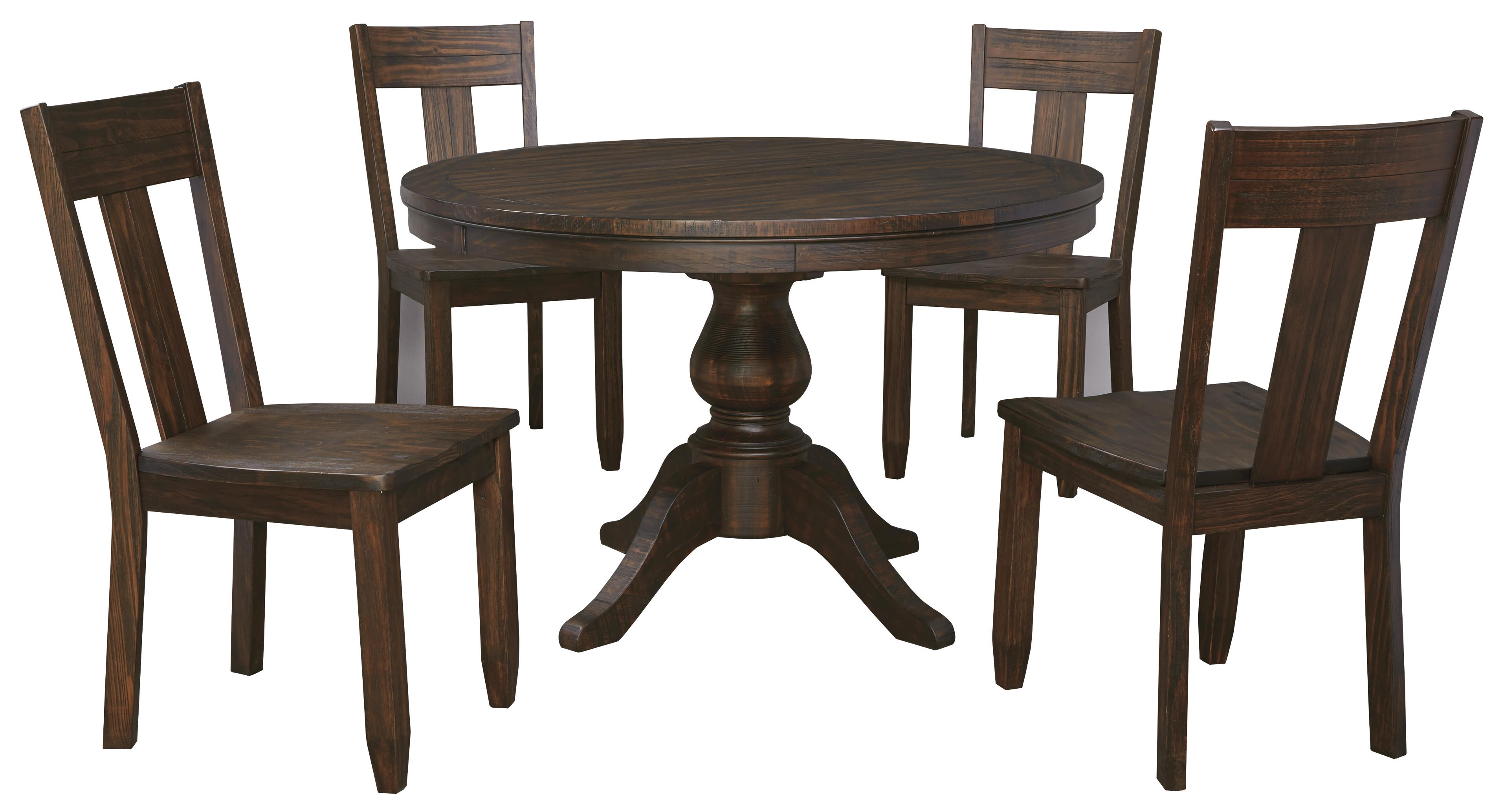 Ashley signature design trudell 5 piece round dining table set with wood seat side chairs dunk Round dining table set