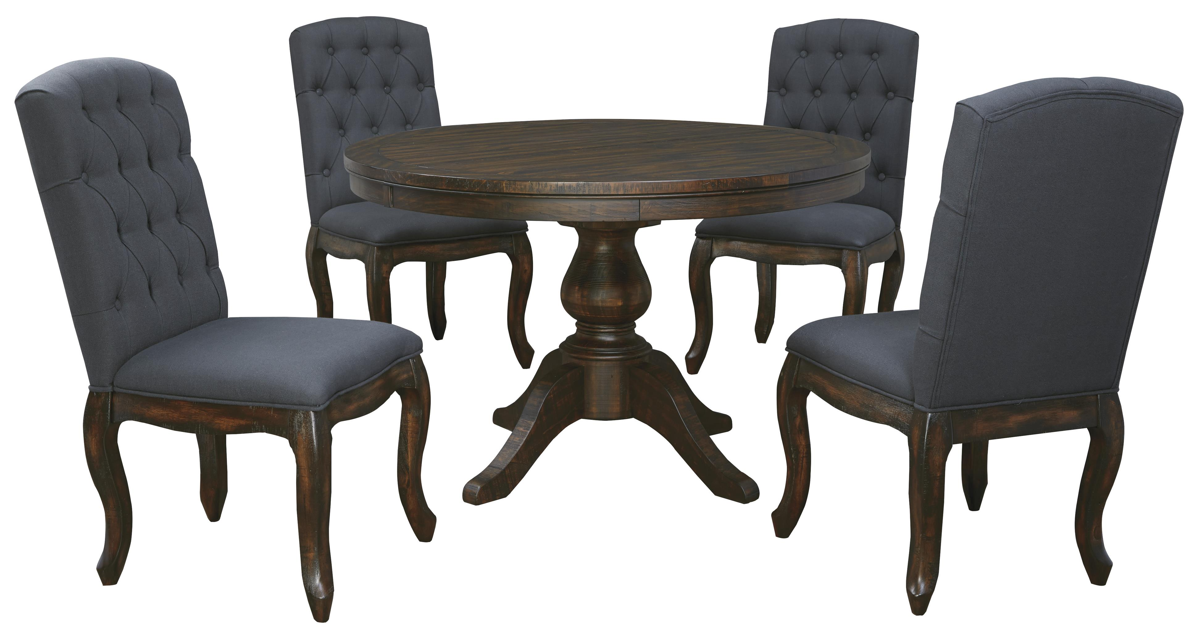 Signature design by ashley trudell 5 piece round dining table set with upholstered side chairs Round dining table set
