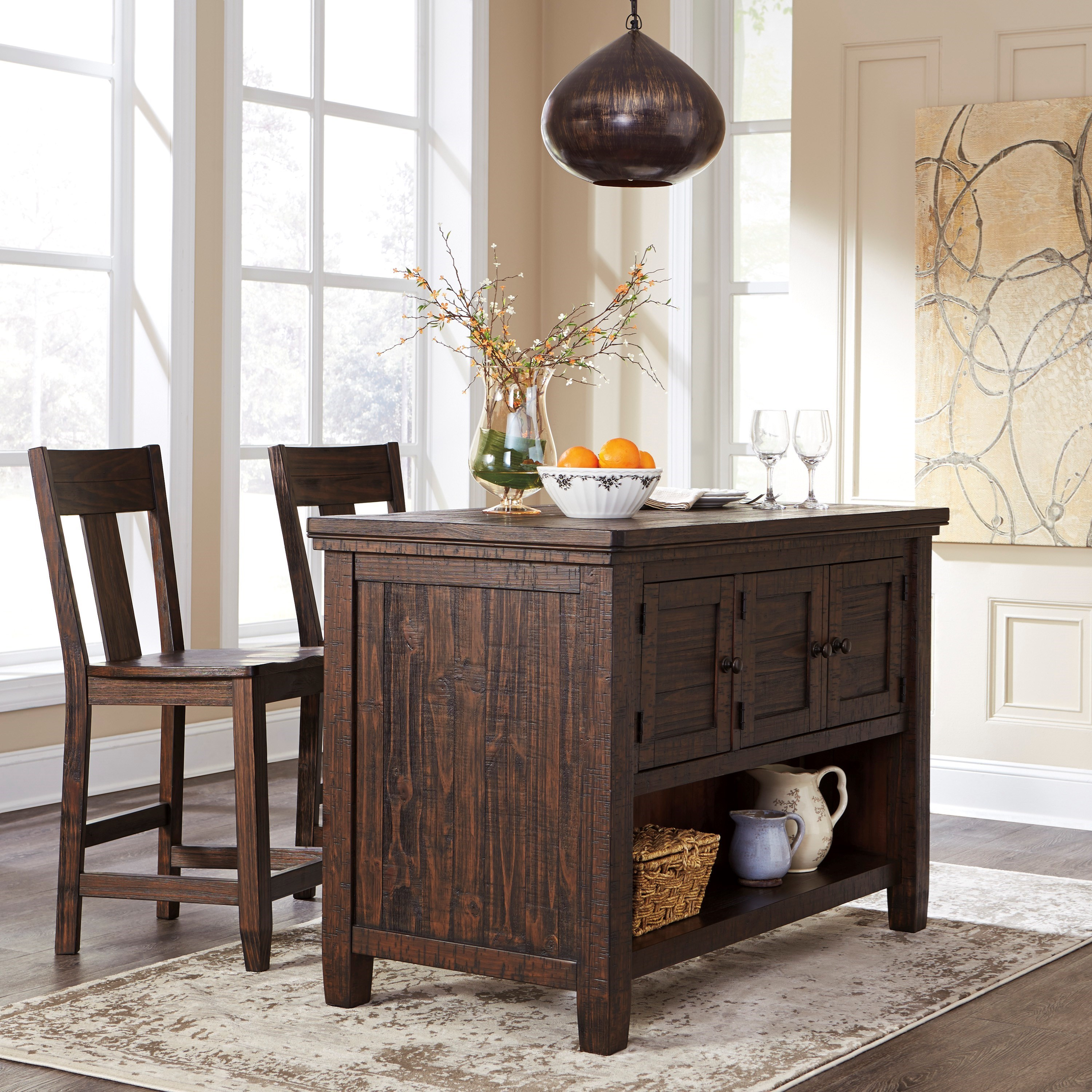 Ashley Signature Design Trudell D658 65 Solid Wood Pine