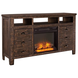 Signature Design by Ashley Trudell Extra Large TV Stand with Fireplace Insert