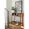 Signature Design by Ashley Trumore Solid Wood Console Sofa/Secretary Desk in Medium Brown Finish