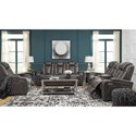 Signature Design by Ashley Turbulance Contemporary Faux Leather Power Recliner w/ Adjustable Headrest