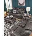 Signature Design by Ashley Turbulance Contemporary Faux Leather Power Reclining Loveseat w/ Console & Power Headrests
