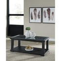 Signature Design by Ashley Tyler Creek Rectangular Cocktail Table with Framed Lattice Detail & Glass Top