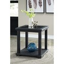 Signature Design by Ashley Tyler Creek Square End Table with Framed Lattice Detail & Glass Top