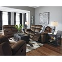 Signature Design by Ashley Uhland Contemporary Power Reclining Loveseat w/ Adjustable Headrest