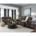 Signature Design by Ashley Uhland Contemporary Power Reclining Sofa w/ Adjustable Headrest