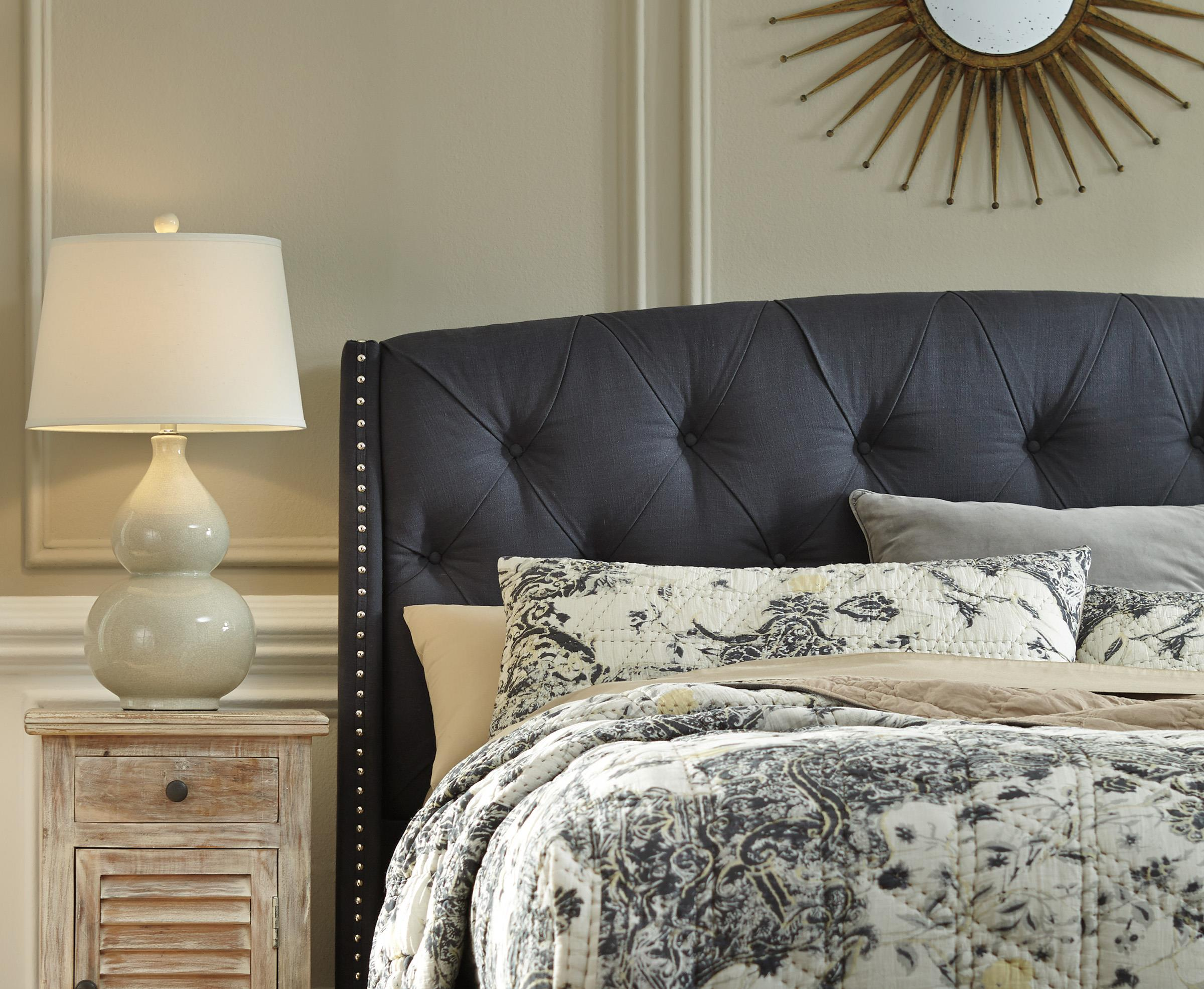 Signature Design By Ashley Kasidon Queen Upholstered Headboard In Dark Gray With Tufting And