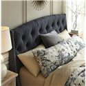 Signature Design by Ashley Kasidon Queen Upholstered Headboard in Dark Gray with Tufting and Nailhead Trim