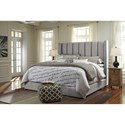 Signature Design by Ashley Kasidon Queen Upholstered Bed in Gray with Wing Back & Channel Tufting