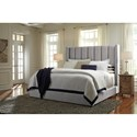Signature Design by Ashley Kasidon California King Upholstered Bed in Gray with Wing Back & Channel Tufting