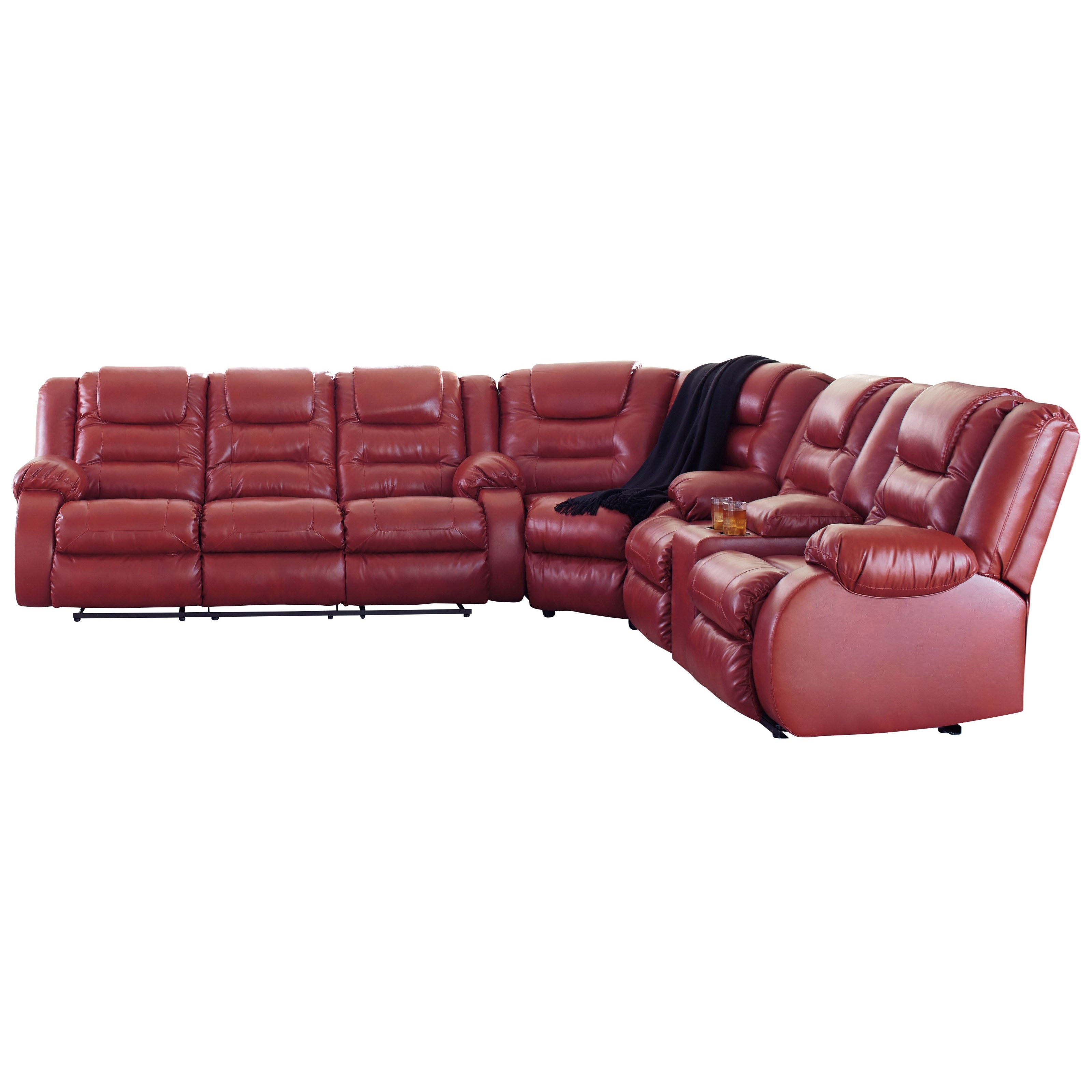 Signature Design by Ashley Vacherie Reclining Sectional Sofa - Item Number: 7930688+77+94