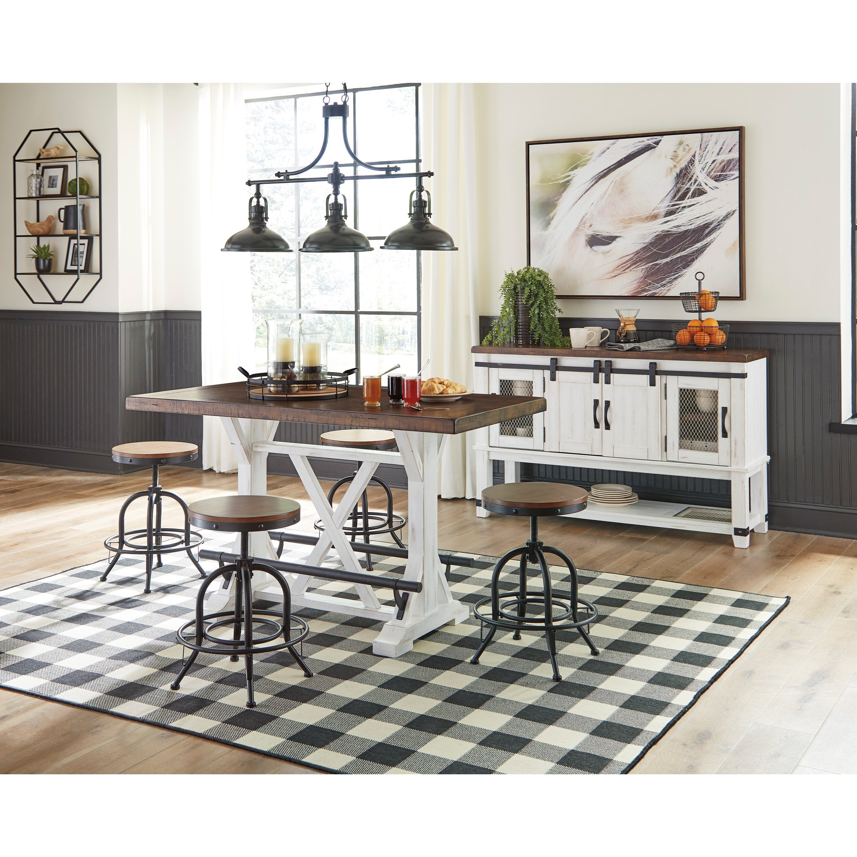 Standard Furniture Brooklyn 5 Piece Counter Height Dining: Signature Design By Ashley Valebeck 5-Piece Counter Height