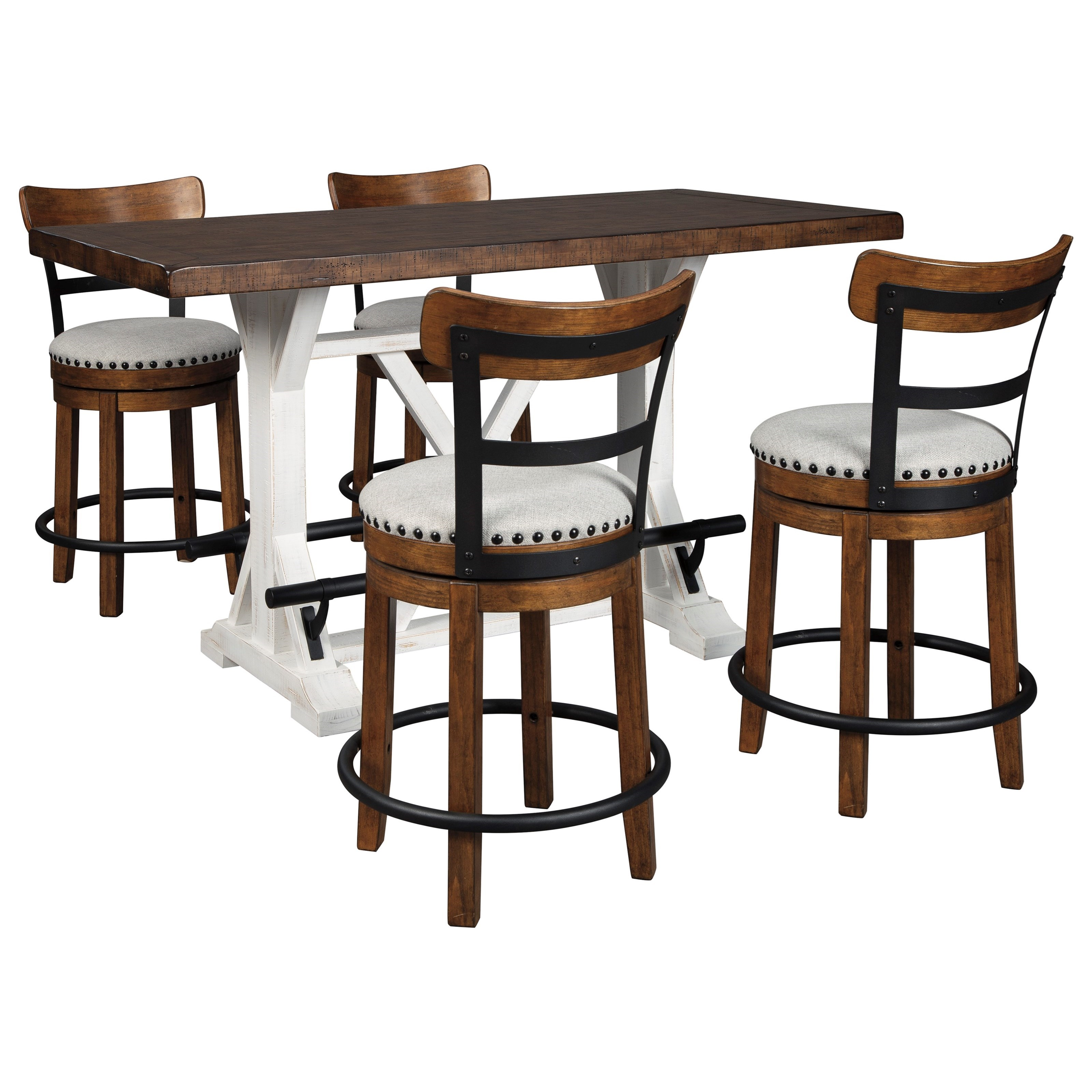 Signature Design By Ashley Valebeck 5 Piece Counter Height Table Set Standard Furniture Pub Table And Stool Sets