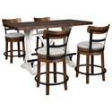 Signature Design by Ashley Valebeck 5-Piece Counter Height Table Set - Item Number: D546-13+2x424