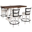 Signature Design by Ashley Valebeck 5-Piece Counter Height Table Set - Item Number: D546-13+2x524