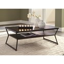 Signature Design by Ashley Vallodee Contemporary Rectangular Cocktail Table with Metal Frame