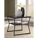Signature Design by Ashley Vallodee Contemporary Rectangular End Table with Metal Base