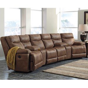 Signature Design by Ashley Valto Reclining Sectional with Angled Consoles