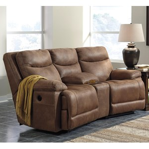 Signature Design by Ashley Valto Power Reclining Sofa with Angled Console
