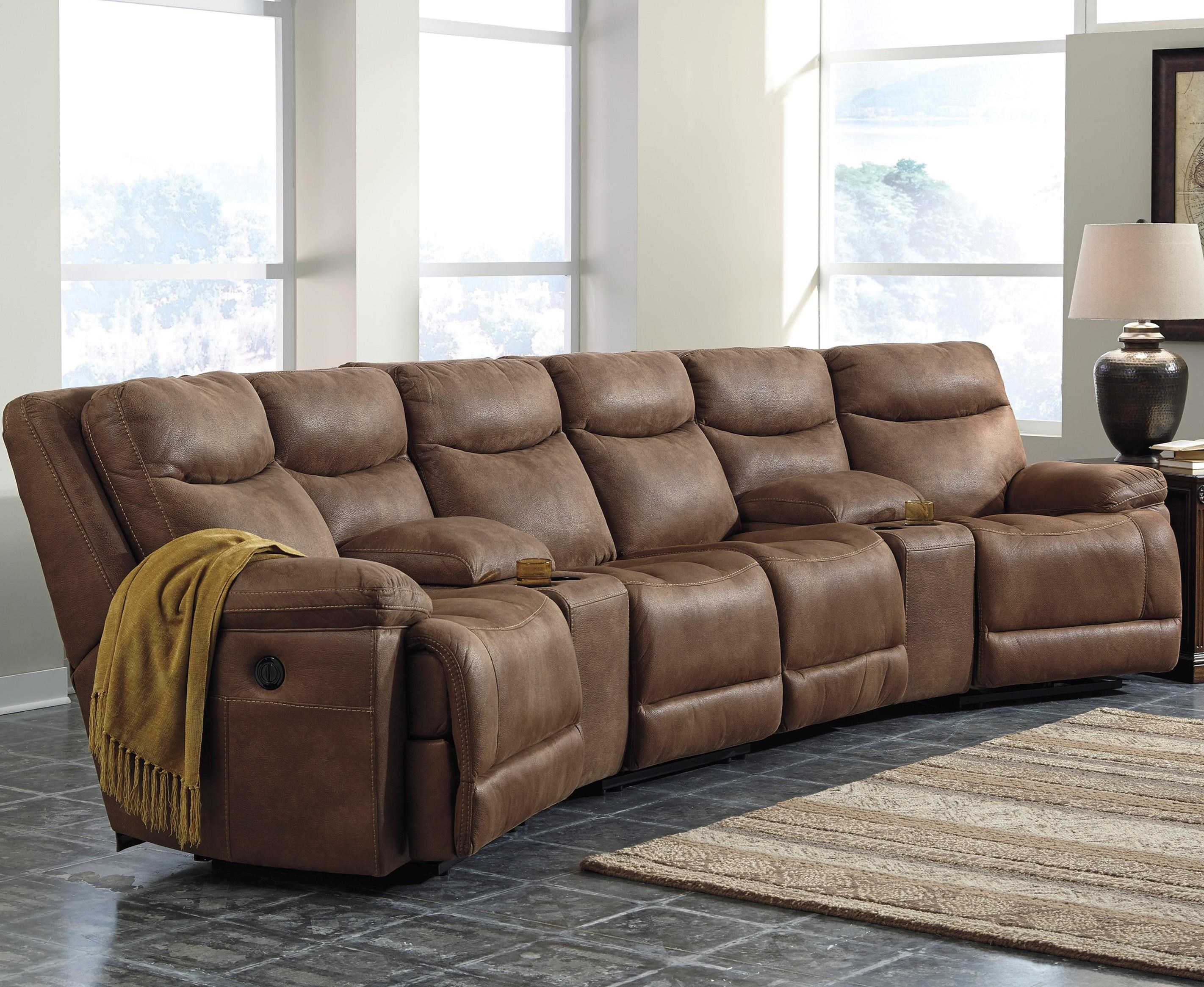 Signature Design by Ashley Valto Power Reclining Sectional w/ Angled Consoles - Item Number: 7940058+2x27+2x46+62