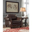 Signature Design by Ashley Vanceton Traditional Chair with Wood Trim & Rolled Arms