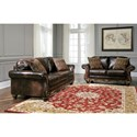 Signature Design by Ashley Vanceton Traditional Loveseat with Wood Trim & Rolled Arms