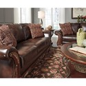Signature Design by Ashley Vanceton Traditional Sofa with Wood Trim & Rolled Arms