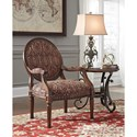 Signature Design by Ashley Vanceton Accent Chair with Ornate Wood Frame & Paisley Fabric
