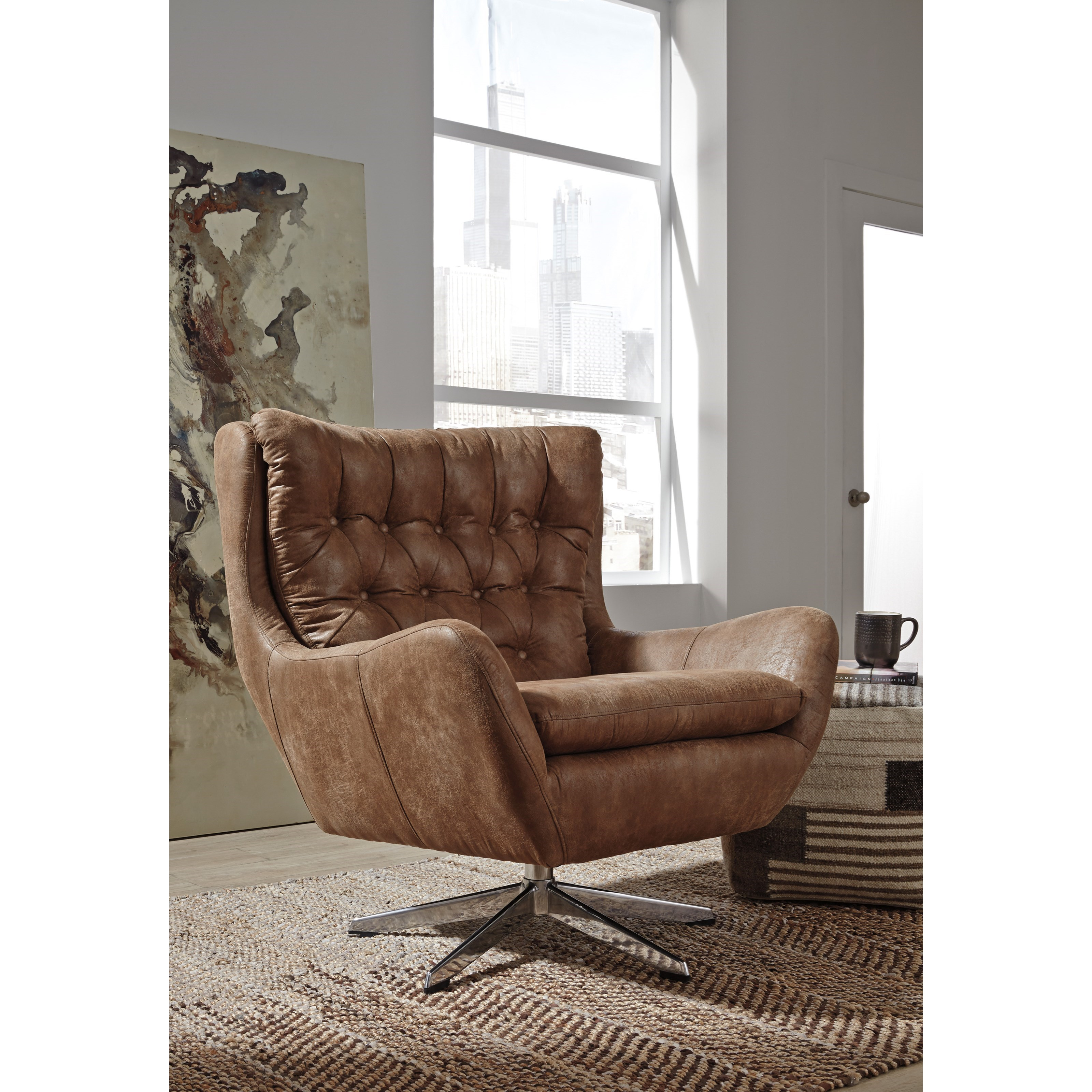 Block Base Accent Chair: Signature Design By Ashley Velburg Transitional Swivel