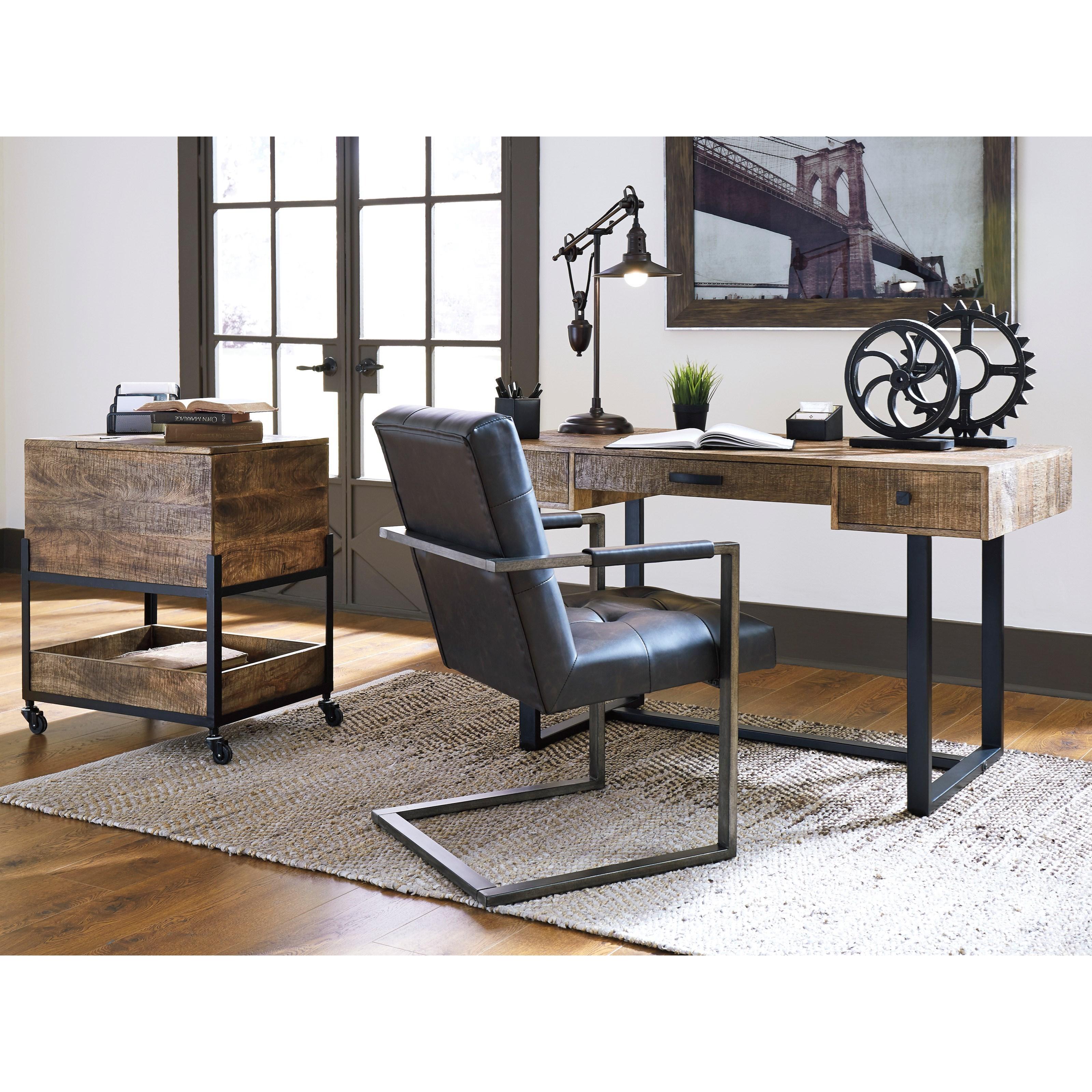 Signature Design By Ashley Viganni H640 26 Mango Wood Metal Home Office Desk Household