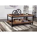 Signature Design by Ashley Viganni Solid Mango Wood/Metal Rectangular Cocktail Table with Casters