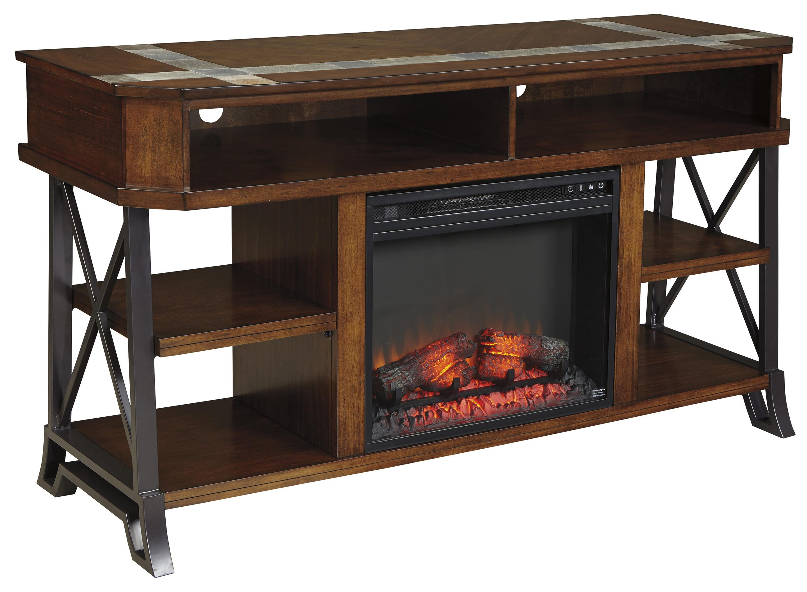 Signature Design by Ashley Vinasville TV Stand with Fireplace Insert - Item Number: W552-68+W100-01